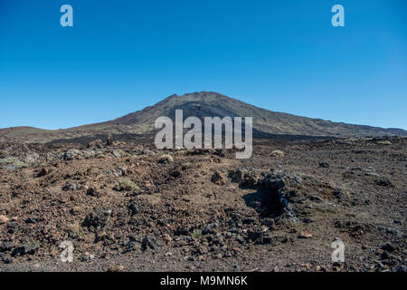 Volcanic landscape, Volcano Pico Viejo, Teide National Park, Parque Nacional del Teide, Tenerife, Canary Islands, Spain - Stock Photo