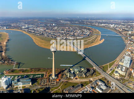 Aerial view, parliament with TV tower at the Rhine, Düsseldorf, North Rhine-Westphalia, Germany - Stock Photo