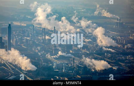 Smoking chimneys of chemical plant, Chemiepark Marl with Sasol Germany GmbH, Marl, Ruhr Area, North Rhine-Westphalia, Germany - Stock Photo