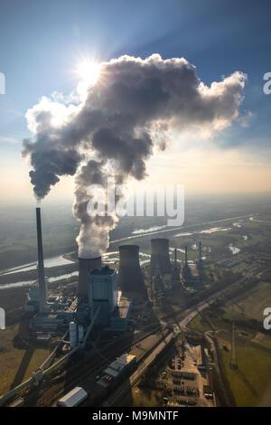 Aerial view, RWE Coal-fired power station, Werne, North Rhine-Westphalia, Germany - Stock Photo