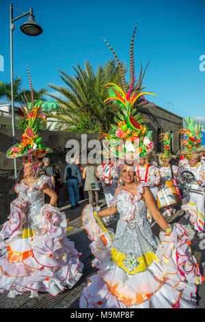 Women in colorful costumes, Carnival, Street carnival, Puerto de la Cruz, Tenerife, Canary Islands, Spain - Stock Photo