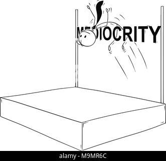 Cartoon of Businessman Doing High Jump over Mediocrity - Stock Photo