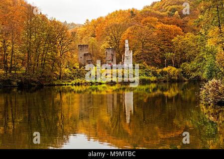 Hardenstein Castle Ruin on the Ruhr in Autumn, Witten, Ruhr Area, North Rhine-Westphalia, Germany - Stock Photo