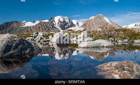 Lake with snow-covered Altai mountains in the back, Mongolia - Stock Photo