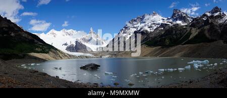 Snowy mountain range with Cerro Torre and Laguna Torre, Parque Nacional Los Glaciares, Santa Cruz Province, Patagonia, Argentina - Stock Photo