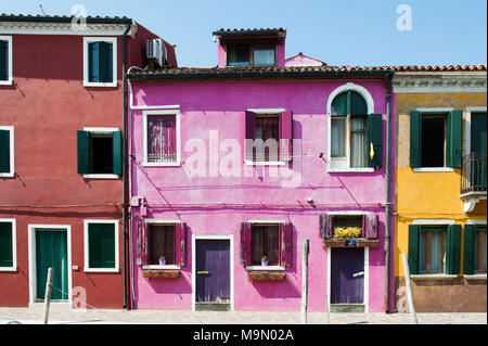 Burano island, Venice, Italy, Europe - typical colorful houses - Stock Photo