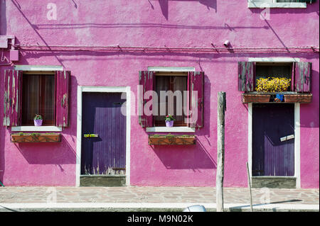 Facade with window and door of a house in Burano in Venetian lagoon, Venice, Italy, Europe - Stock Photo