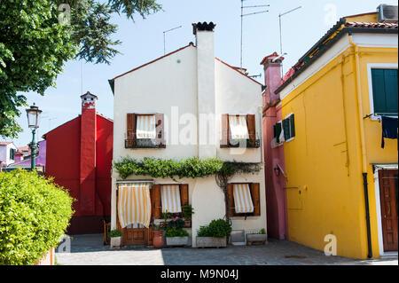 Burano island, Venice, Italy, Europe - beautiful white house - Stock Photo