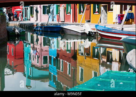 BURANO, VENICE, ITALY - APRIL 16, 2017 : colorful houses reflection in the canal - Stock Photo