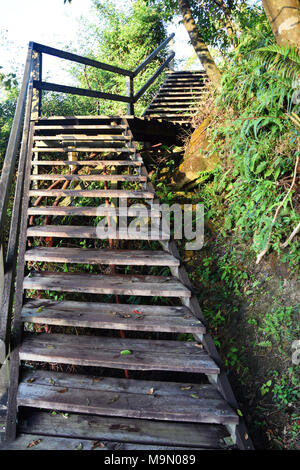 Steep Wooden Stairs - Hiking the Lantau Ngong Ping 360 Rescue Trail to the Big Tian Tan Buddha - Stock Photo
