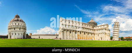 Panorama of the leaning tower of Pisa with the cathedral (Duomo) and the baptistry in Pisa, Tuscany, Italy - Stock Photo