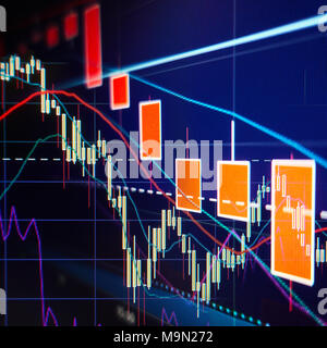 Stock market selloff  -  Stock graphs and charts - Financial and business background - Stock Photo