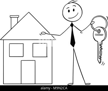 Cartoon of Businessman or Estate Agent Offer a Key and House Property - Stock Photo
