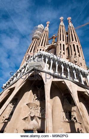 Sagrada Familia, fachada en obras 2018, Gaudí arquitecto, Barcelona, España - Stock Photo