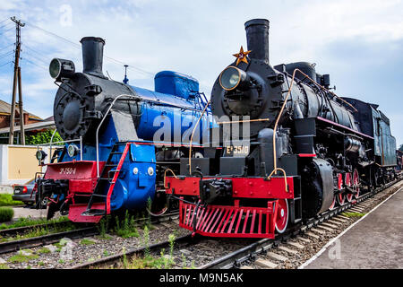 ROSTOV-ON-DON, RUSSIA - SEPTEMBER 1, 2011: Old steam locomotives, railway museum - Stock Photo