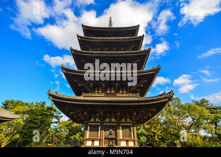 Wooden tower of Kofukuji Temple in Nara, Japan. Kofuku-ji a Buddhist temple that was once one of the powerful Seven Great Temples - Stock Photo