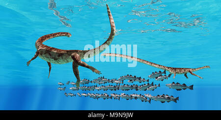 Tanystropheus and Cod School - Two Tanystropheus marine reptiles surround a school of Cod fish in the seas of the Triassic Period. - Stock Photo