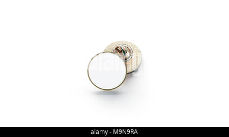 Blank white gold lapel badge mock ups stack, 3d rendering  Empty