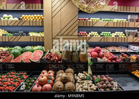A very neat fruit & veg stall in the Les Halles de Lyon Paul Bocuse, the food market of Lyon, France - Stock Photo