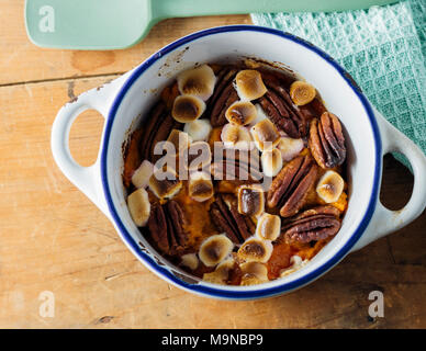 Sweet Potato with Marshmallow and Pecans - Stock Photo