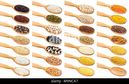 Grains in spoons isolated on white background - Stock Photo