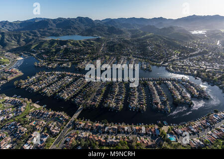 Aerial view of Westlake Island and lake in Thousand Oaks and Westlake Village communities in Southern California. - Stock Photo