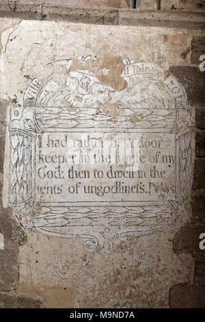 'I had rather be a doorkeeper' - wall painting at Dore Abbey - Stock Photo