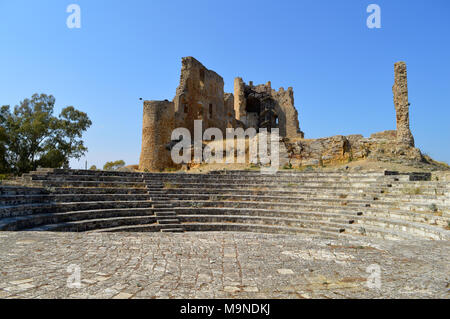 View of the Ancient Amphitheater in the Back of the Medieval Castle, Mazzarino, Caltanissetta, Sicily, Italy - Stock Photo