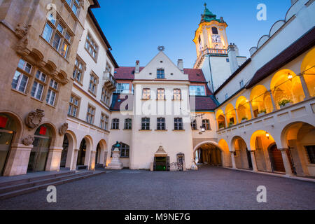 Old Town Hall in Bratislava. Image of Town Hall Buildings and Clock Tower of Main City Square in Old Town Bratislava, Slovakia. - Stock Photo