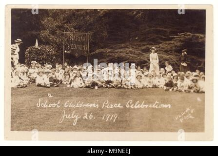 WW1 era postcard of school childrens Peace Celebrations, July 26 1919, to celebrate ending of 1st World War. Sarum St. Edmund, Salisbury, U.K. - Stock Photo