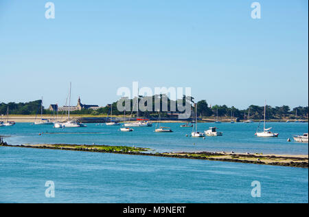 View of Pen Bron from Le Croisic harbor in Loire Atlantique, France - Stock Photo