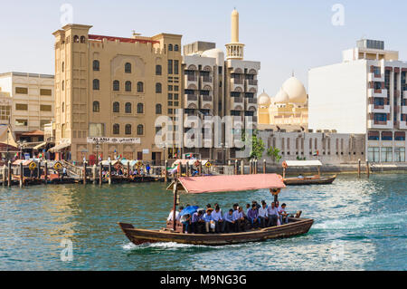 Dubai Creek abra boat with views over to Bur Dubai, Dubai Creek, Dubai, UAE - Stock Photo