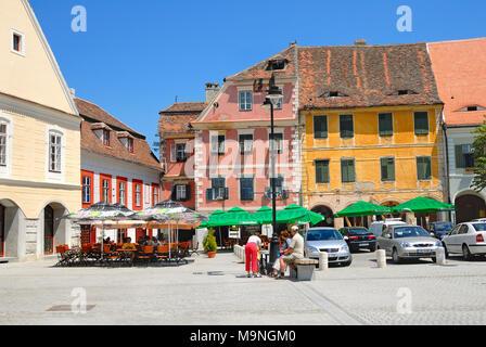 Sibiu, Transylvania, Romania. Piata Mica (square) - Stock Photo