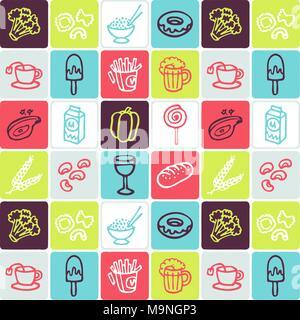 Hand Drawn Icons Set - Food 1 - Stock Photo