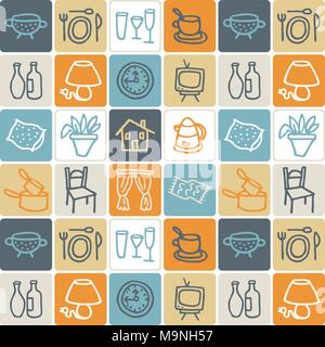 Hand Drawn Icons Set - Household 1 - Stock Photo