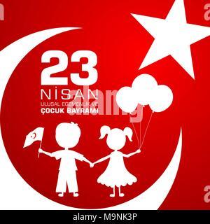 23 nisan cocuk baryrami. Translation: Turkish April 23 Childrens Day. Vector illustration - Stock Photo