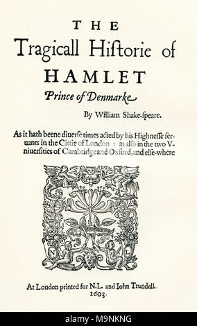 After the title-page of the first cuarto of Shaekspeare's play Hamlet.  William Shakespeare, 1564 (baptised) – 1616.  English poet, playwright and actor.  From A Life of William Shakespeare, published 1908. - Stock Photo