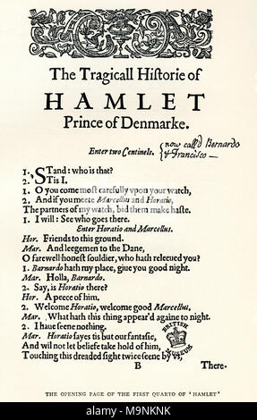 After the opening page of the first cuarto of Shaekspeare's play Hamlet.  William Shakespeare, 1564 (baptised) – 1616.  English poet, playwright and actor.  From A Life of William Shakespeare, published 1908. - Stock Photo