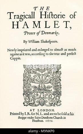 After the title-page of the second cuarto of Shaekspeare's play Hamlet. William Shakespeare, 1564 (baptised) – 1616.  English poet, playwright and actor.  From A Life of William Shakespeare, published 1908. - Stock Photo
