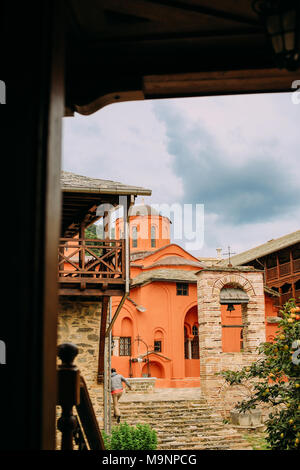 the courtyard of the Greek Orthodox monastery on the holy mountain - Stock Photo