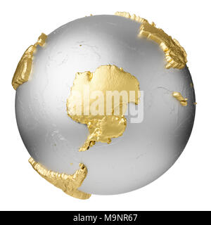 Gold, silver globe without water. Antarctica. 3d rendering isolated on white background. Elements of this image furnished by NASA - Stock Photo