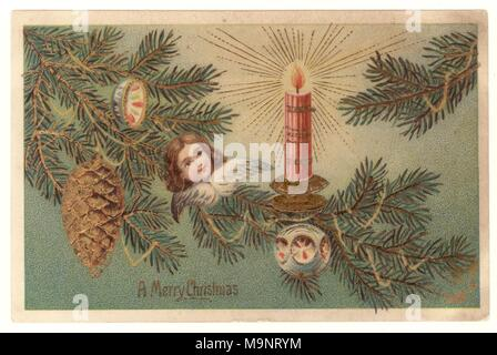 Edwardian Christmas Greetings postcard, depicting a Christmas tree with decorations, wishing a Merry Christmas, posted Dec 23 1906 - Stock Photo