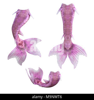 Set of pink mermaid tails isolated on white, 3d render - Stock Photo