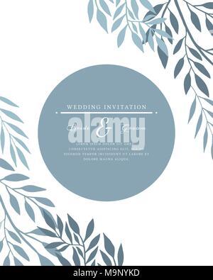 Wedding invitation vector card template - Stock Photo