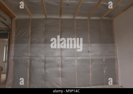 thermal and hidro insulation wall insulation construction new residential home. - Stock Photo