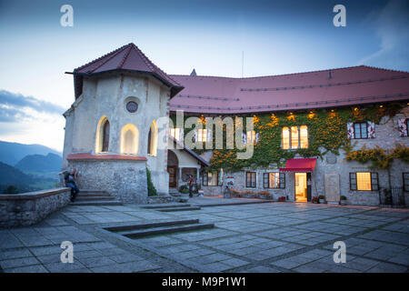 Restaurant building of Bled castle, above famous lake Bled, Triglav, Slovenia - Stock Photo