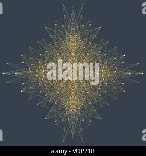 Computer generated phyllotaxis dotted helix flow fractal vector. Futuristic minimalistic layout. Conceptual generative background. Wavy twirl rosette. - Stock Photo