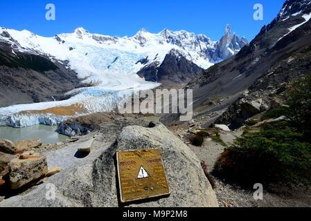 View of Cerro Torre and Cerro Adela, Torre Glacier and Laguna Torre, Mirador Maestri Viewpoint, Los Glaciares National Park - Stock Photo