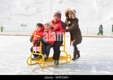 An Asian family is having fun on a group sled at a frozen river.  The Hwacheon Sancheoneo Ice Festival is a tradition for Korean people. Every year in January crowds gather at the frozen river to celebrate the cold and snow of winter. Main attraction is ice fishing. Young and old wait patiently over a small hole in the ice for a trout to bite. In tents they can let the fish grilled after which they are eaten. Among other activities are sledding and ice skating.  The nearby Pyeongchang region will host the Winter Olympics in February 2018. - Stock Photo