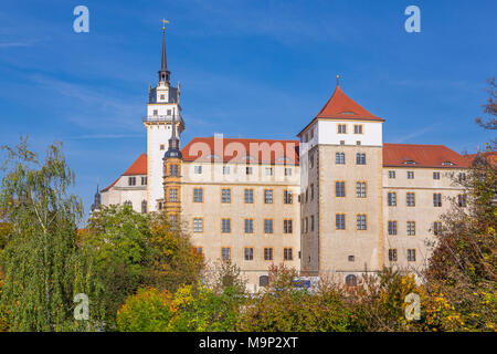 Hartenfels Castle with Hausmann Tower, Torgau, Saxony, Germany - Stock Photo